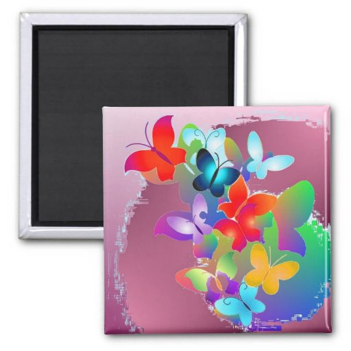 Butterflies 2 Inch Square Magnet