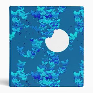 Butterflies against blue night sky, moonscape 3 ring binder