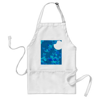 Butterflies against blue night sky, moonscape adult apron