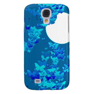 Butterflies against blue night sky, moonscape galaxy s4 cover