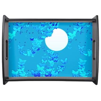 Butterflies against blue night sky, moonscape serving tray