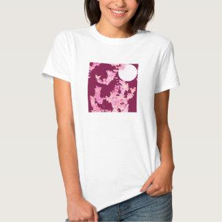 Butterflies against night sky, pink burgundy tee shirt