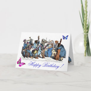 BUTTERFLIES ANDANIMAL FARM ORCHESTRA BIRTHDAY CARD