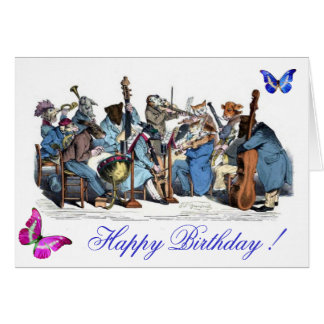 BUTTERFLIES AND,ANIMAL FARM ORCHESTRA  BIRTHDAY GREETING CARD
