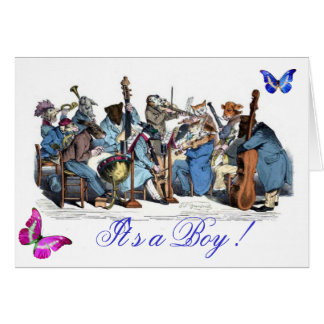 BUTTERFLIES AND,ANIMAL FARM ORCHESTRA ,It's a Boy Greeting Card