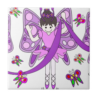 Butterflies and Ballerinas Ceramic Tile