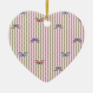 butterflies and bamboo curtain ceramic ornament