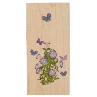 Butterflies and Bell Flowers Wood USB 2.0 Flash Drive