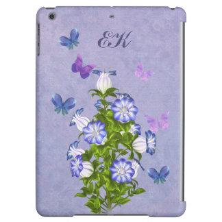 Butterflies and Bell Flowers, Monogram iPad Air Case