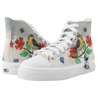 butterflies and bird High-Top sneakers