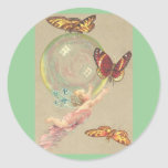 Butterflies and Bubble Round Sticker