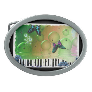 Butterflies and Bubbles Oval Belt Buckle