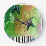 Butterflies and Bubbles Round Clock