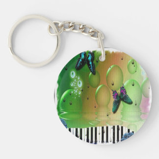 Butterflies and Bubbles Single-Sided Round Acrylic Keychain