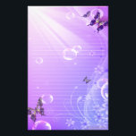 "Butterflies and Bubbles Stationary Stationery<br><div class=""desc"">Beautiful Butterflies swaying through rays of sunshine and bubbles all set to purple and blue</div>"