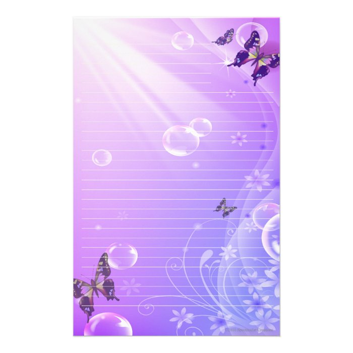 Butterflies and Bubbles Stationary Stationery