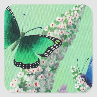 Butterflies and Buddleia Square Sticker