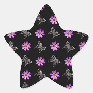Butterflies and cosmos flowers star sticker