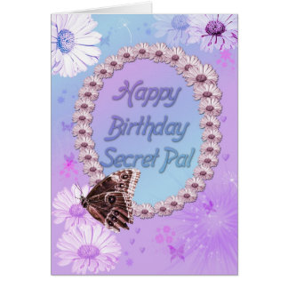 Butterflies and daisies Birthday card, secret pal