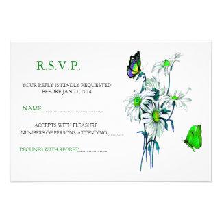 Butterflies And Daisies Green RSVP Announcement