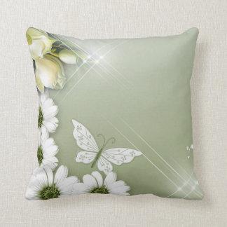 Butterflies and Daisies Throw Pillow