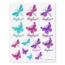 Butterflies and dragonflies personalized name art temporary tattoos