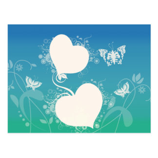 Butterflies and Floating Hearts on Abstract Swirls Postcard
