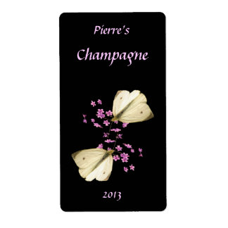 Butterflies and Floral Wine Label