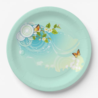 Butterflies and Flower Blossoms Paper Plate