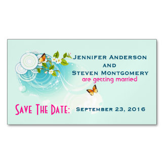 Butterflies and Flower Blossoms  Save The Date Magnetic Business Card