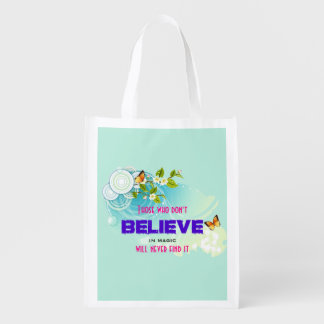 Butterflies and Flower Blossoms with Magic Quote Market Totes
