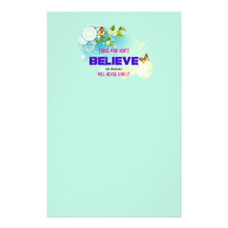 Butterflies and Flower Blossoms with Magic Quote Stationery