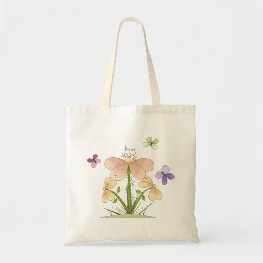 Butterflies and Flowers Budget Tote Bag