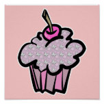 butterflies and flowers cupcakes poster