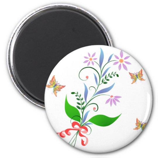 Butterflies and Flowers Design Magnet