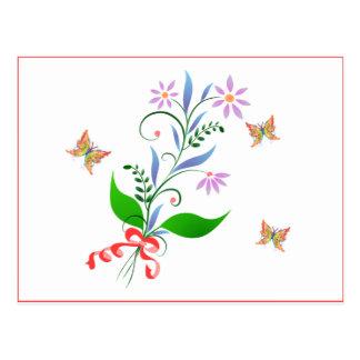 Butterflies and Flowers Design Postcard
