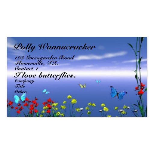 Butterflies and Flowers Double-Sided Standard Business Cards (Pack Of 100)
