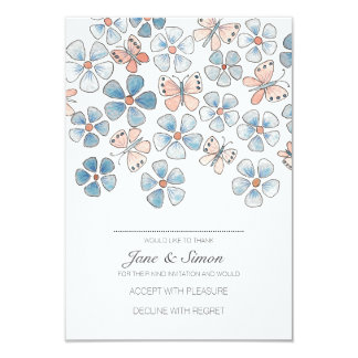 Butterflies and Flowers Floral Reply Card