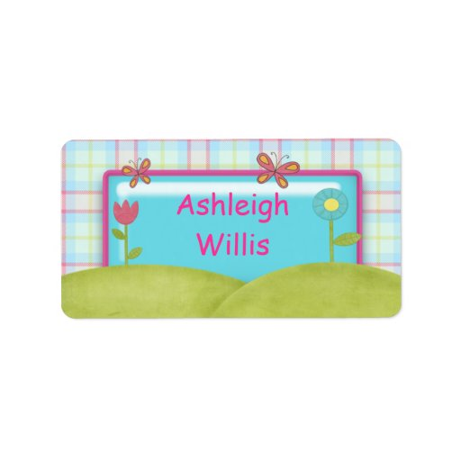Butterflies and Flowers - Girls School Name Labels