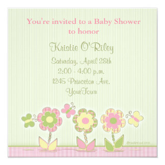 "Butterflies and Flowers in Plaids 5.25"" Square Invitation Card"