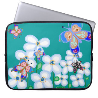 Butterflies and flowers laptop sleeves