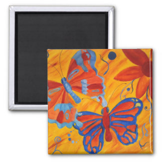 butterflies and flowers oil painting magnet