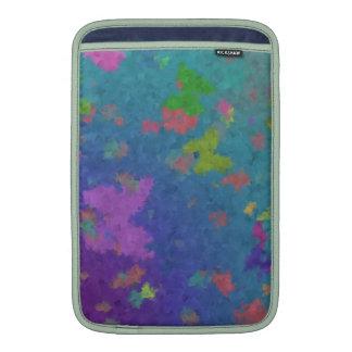 Butterflies and Flowers on Blue Background MacBook Air Sleeve