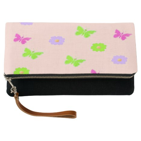 butterflies and flowers on pink clutch