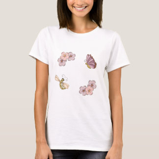 Butterflies And Flowers On Purple Polka Dots T-Shirt