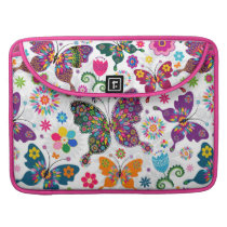 Butterflies And Flowers Pattern Sleeve For MacBooks