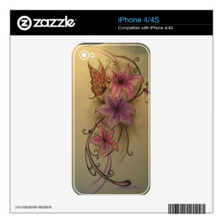 Butterflies and Flowers phone skin iPhone 4S Skins