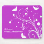 Butterflies and Flowers Silhouette Mouse Pad