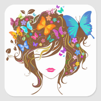 Butterflies and Flowers Square Sticker
