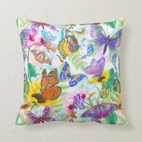 Butterflies and Flowers Throw Pillow. A beautiful and detailed water color painting showing a multitude of butterflies flying among flowers. This print was lovingly painted in many pastel shades that will add color to any room in the house.